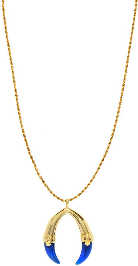 Kenneth Jay Lane Two Horn Pendant Necklace
