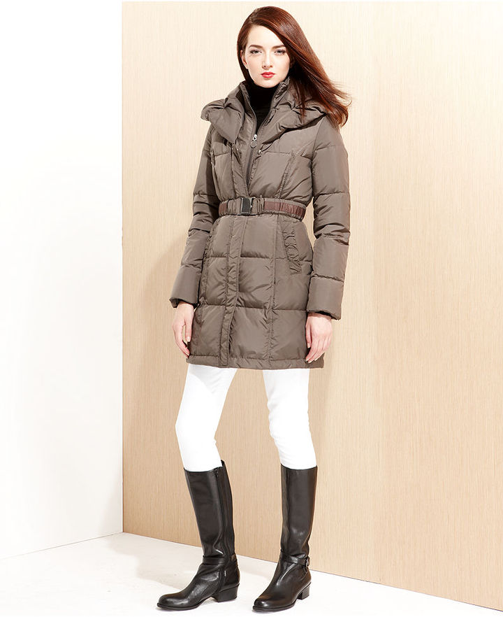 Tahari Coat, Lucy Pillow-Collar Belted Puffer