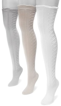 Muk Luks Women's Lace Texture Over the Knee Socks 7 x 3.5