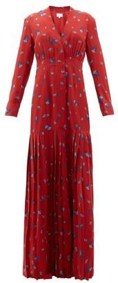 Rebecca De Ravenel Paisley Print Silk Crepe De Chine Maxi Dress - Womens - Red Multi