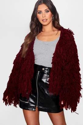 boohoo Petite Cropped Shaggy Knit Cardigan