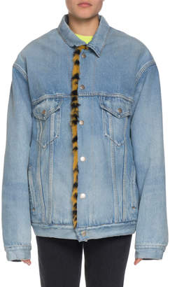 Balenciaga Denim Twill Oversized Jacket w/ Animal-Print Faux-Fur Lining