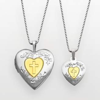 Silver Cross Kohl's 14k Gold Over Silver & Sterling Heart Locket & Pendant Set