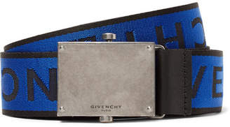 Givenchy 3.5cm Leather-Trimmed Logo-Jacquard Webbing Belt