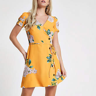 River Island Petite yellow floral print button mini dress