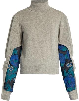 Samuel roll-neck contrast-panel sweater