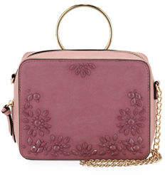 Neiman Marcus Harper Beaded Suede & Leather Ring-Handle Crossbody Bag