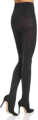 Hue Rhinestone Studded Back-Seam Tights
