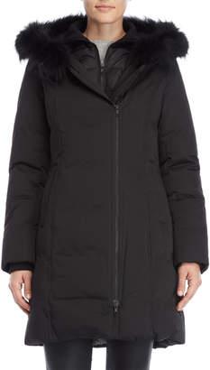 Soia & Kyo Asymmetrical Real Fur Trim Down Coat