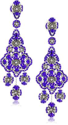 Miguel Ases Sterling Silver, Crystal, and Bead Grand Eye Earrings