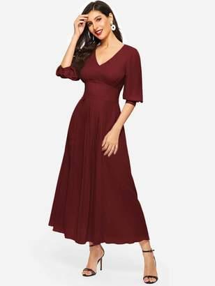 Shein Puff Sleeve Wide Waist Pleated Front Dress