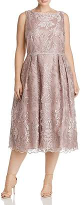 Adrianna Papell Plus Pleated Lace Midi Dress