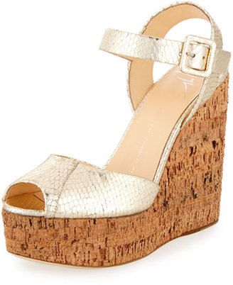 Giuseppe Zanotti Roz Snake-Embossed Wedge Sandal, Gold $795 thestylecure.com