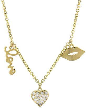 Sydney Evan Three Charm Love Fringe Necklace - Yellow Gold