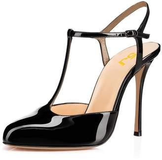 FSJ Women T Strap Sandals High Heels Pumps Closed Toe Stilettos Buckle Party Shoes Size 5
