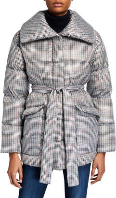 Bernardo Fashions Belted Down/Feather Puffer Coat