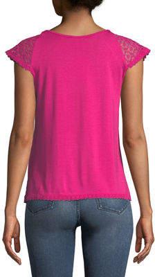 Neiman Marcus Lace-Front Cap-Sleeve Blouse