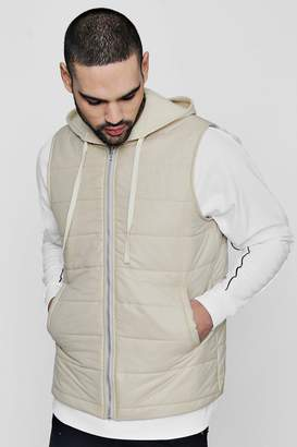 boohoo Quilted Gilet With Jersey Hood