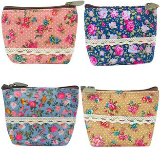 """Oyachic 4 Packs Portable Coin Pouch Waterproof Purse Zip Wallet Card Case Key Bag Christmas Birthday Gift 4.3"""" L X 3.9"""" H X 1.6'' W (4 pack)"""
