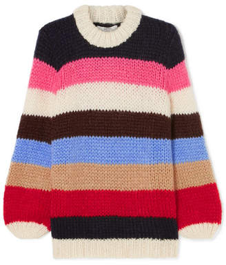 Ganni Julliard Striped Mohair And Wool-blend Sweater - Pink
