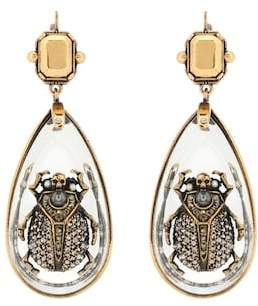 Alexander McQueen Crystal beetle earrings