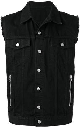 Balmain embroidered medallion denim gilet
