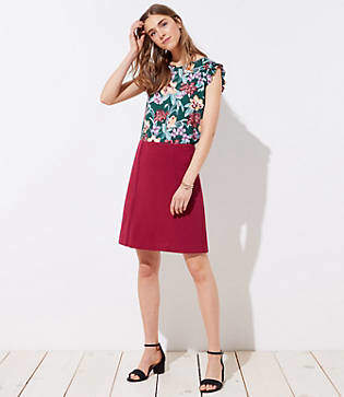 LOFT Petite Scalloped Trim Shift Skirt