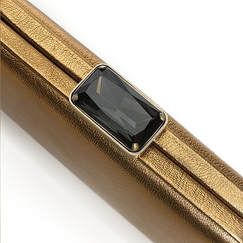 Metallic-leather minaudière