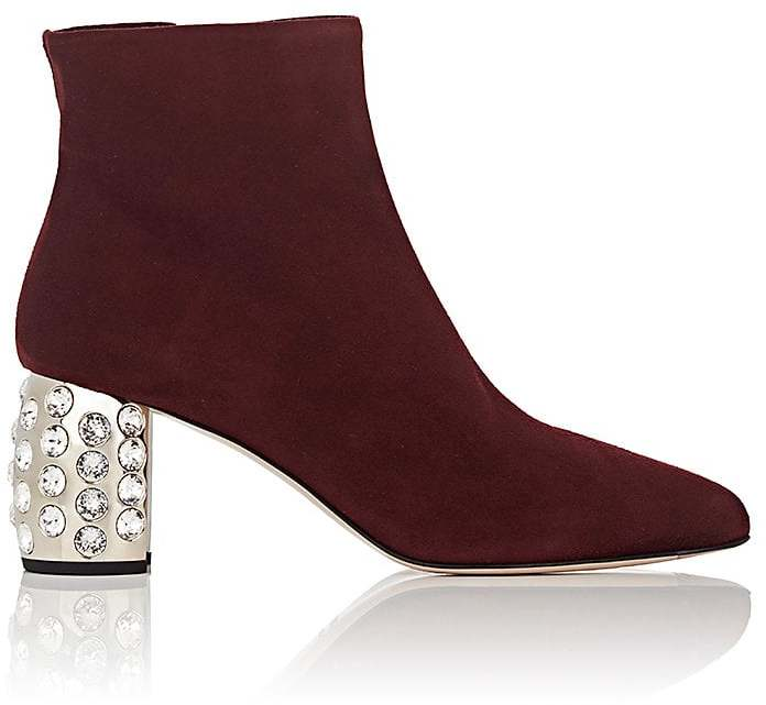 Miu Miu Women's Embellished-Heel Suede Ankle Boots