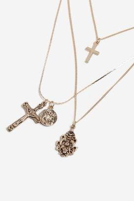 Topshop Cross Charm Multi-Row Necklace