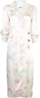 Ganni floral midi shirt dress