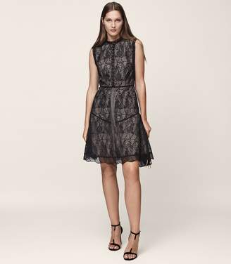 Reiss TORI LACE FIT AND FLARE DRESS Black