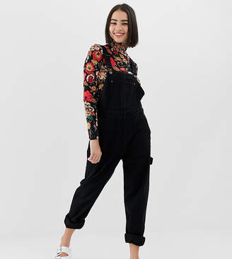Monki denim dungaree with organic cotton in black