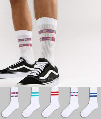 Asos Design DESIGN sports style socks with aztec pop colour stripes 5 pack