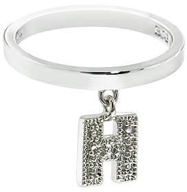 Silvertone 'H' Charm Ring