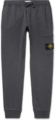 Stone Island Logo-Appliqued Tapered Melange Loopback Cotton-Jersey Sweatpants