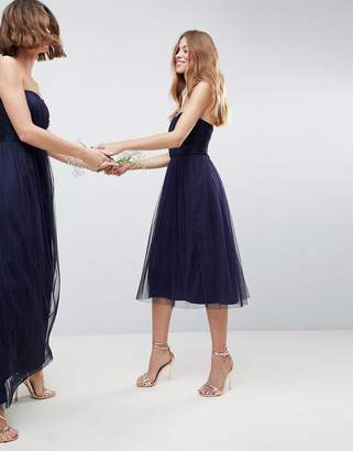 Asos Design DESIGN bridesmaid bandeau tulle midi dress