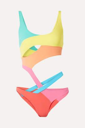 Agent Provocateur Izaro Cutout Color-block Swimsuit - Yellow