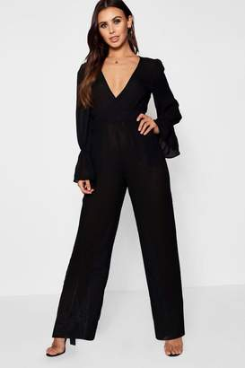 boohoo Petite Ruched Sleeve Wide Leg Jumpsuit