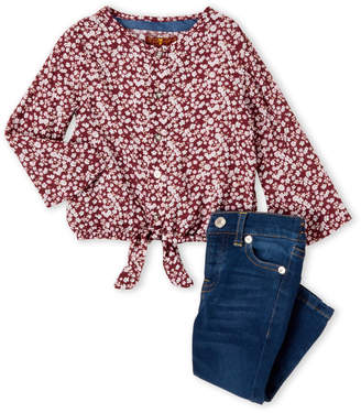 7 For All Mankind Infant Girls) Two-Piece Floral Tie-Front Top & Jeans Set