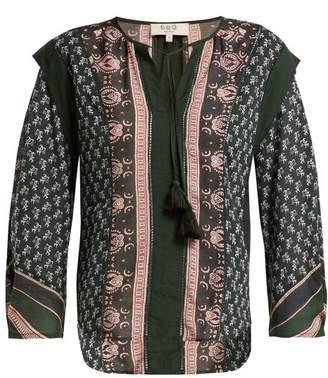 Sea Mia Border Print Cotton Blend Blouse - Womens - Green Print