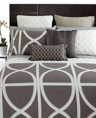 Hotel Collection CLOSEOUT! Transom Charcoal Full/Queen Duvet Cover