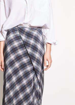 Vince Shadow Plaid Side Drape Silk Skirt