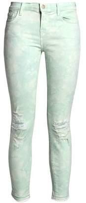 J Brand Distressed Tie-Dye Mid-Rise Skinny Jeans