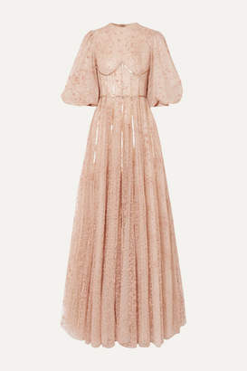 Costarellos Sequined Flocked Tulle Gown - Beige