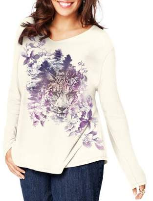 Just My Size Women's Plus Size Long Sleeve Printed V neck T shirt