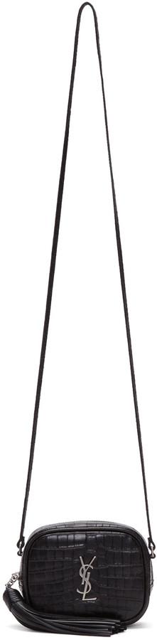 Saint LaurentSaint Laurent Black Croc-Embossed Mini Monogram Blogger Bag