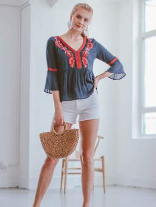 Goodnight Macaroon 'Shiloh' Embroidered Bohemian Blouse