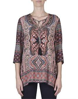 Jump 3/4 Sleeve Paisley Placement Print Tunic Top