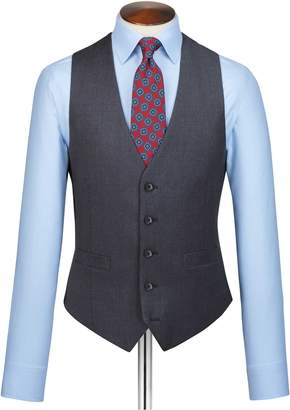 Charles Tyrwhitt Steel Blue Adjustable Fit Twill Business Suit Wool Vest Size w40